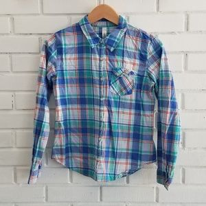 Cherokee plaid button down shirt
